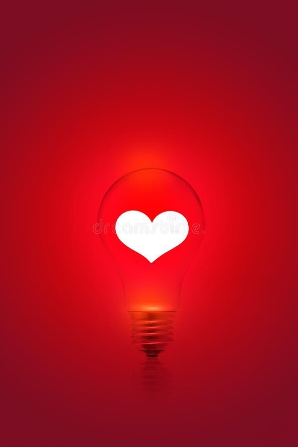 在红灯电灯泡背景,空白的文本的白色心脏形状 库存图片