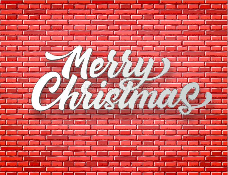 在红砖墙壁上写字的传染媒介圣诞快乐 皇族释放例证