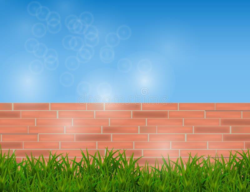 在红砖墙壁和蓝天上隔绝的绿草 库存例证