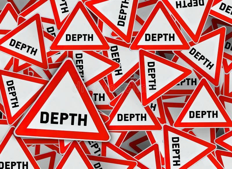 在红色三角路标的很多深度 库存例证