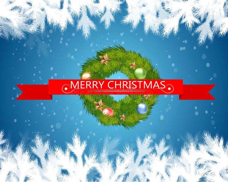 在红色丝带的圣诞快乐文本与在蓝色背景的圣诞树 也corel凹道例证向量 向量例证