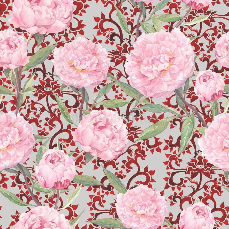 在红色中国装饰品的桃红色牡丹花 花卉重复的亚洲样式,传统华丽装饰 水彩 皇族释放例证