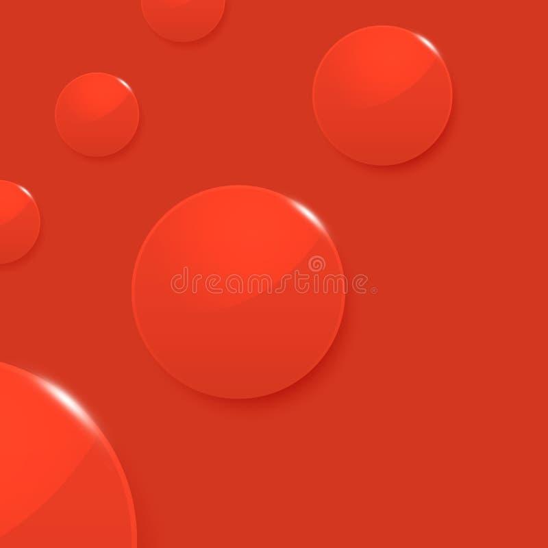 在红色传染媒介背景的现代光滑的圈子 库存例证