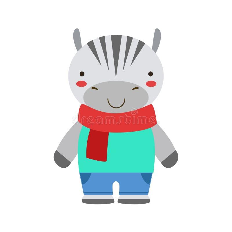 在红色作为小男孩穿戴的围巾和蓝色成套装备逗人喜爱的玩具小动物的微笑的斑马 库存例证