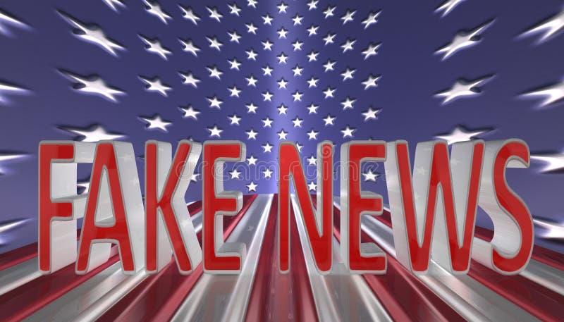 在红色信件的假新闻与反对美国国旗背景的一个银色边界 库存例证
