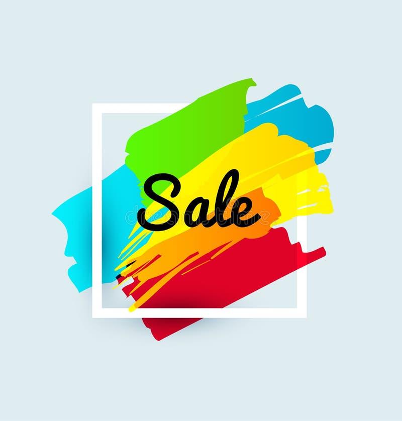 在红色剪影背景的销售艺术性的横幅模板设计 特价优待,折扣的五颜六色的信件 库存例证