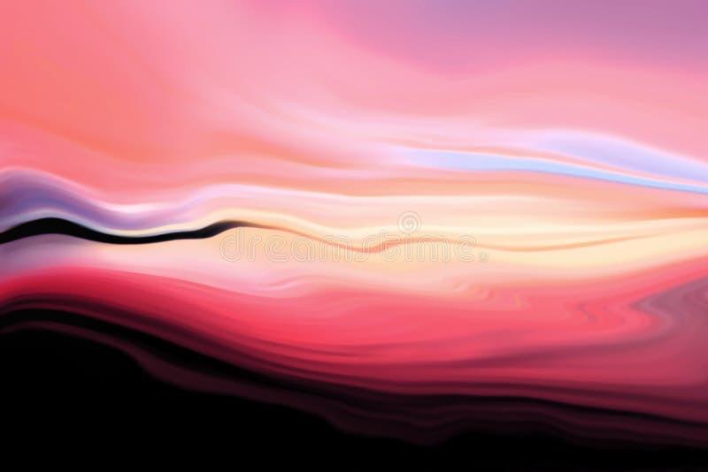 在红色口气的五颜六色的艺术性的抽象绘的背景 明亮的现代波浪纹理 当代墙壁艺术 皇族释放例证