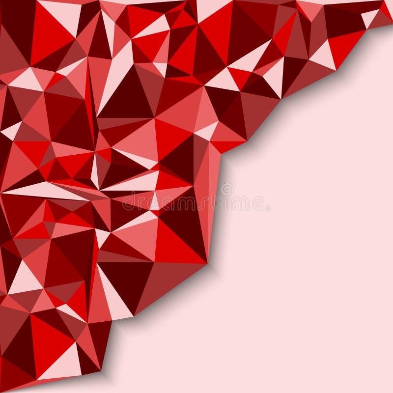 在红色口气的几何抽象背景 库存例证