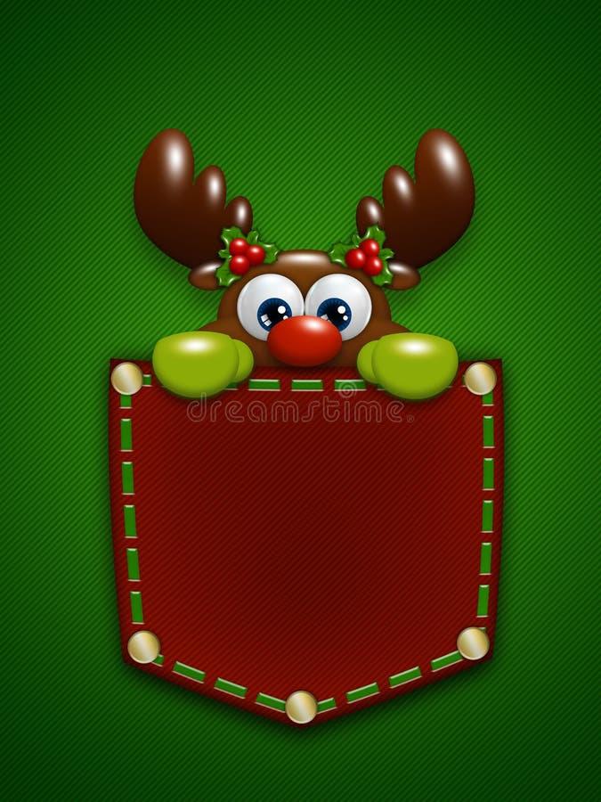 在红色口袋的圣诞节驯鹿在绿色背景 向量例证