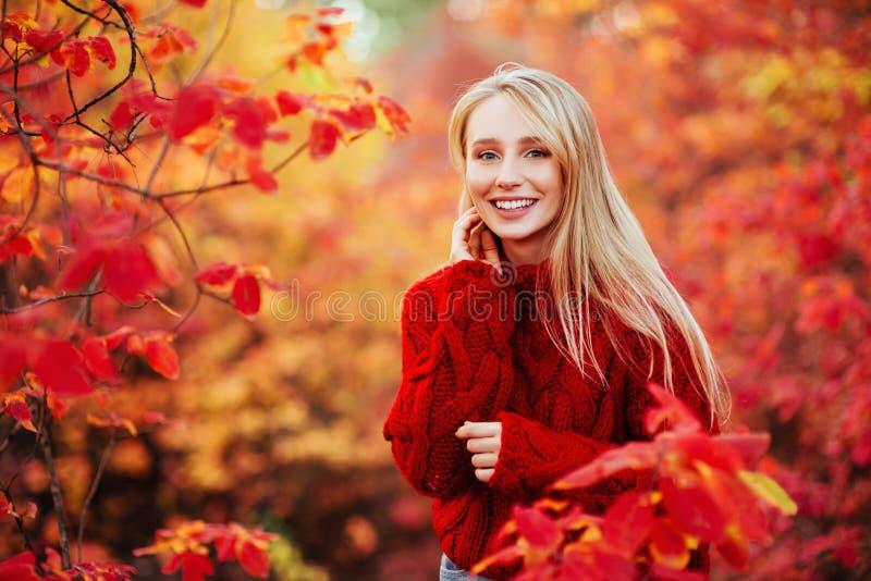 在红色叶子附近的美丽的微笑的妇女户外 图库摄影