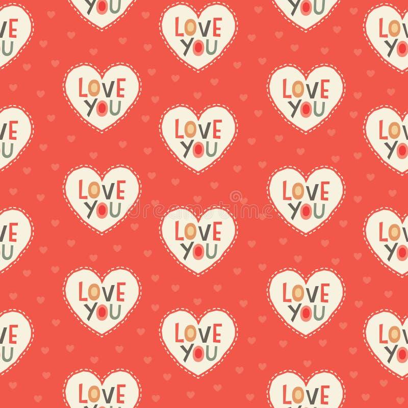 在红色和奶油的无缝的行家心脏样式 库存例证