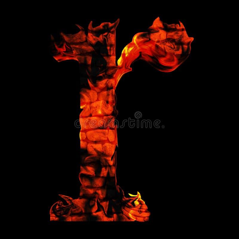 在红色和橙色火焰的炽热灼烧的火字体 库存例证