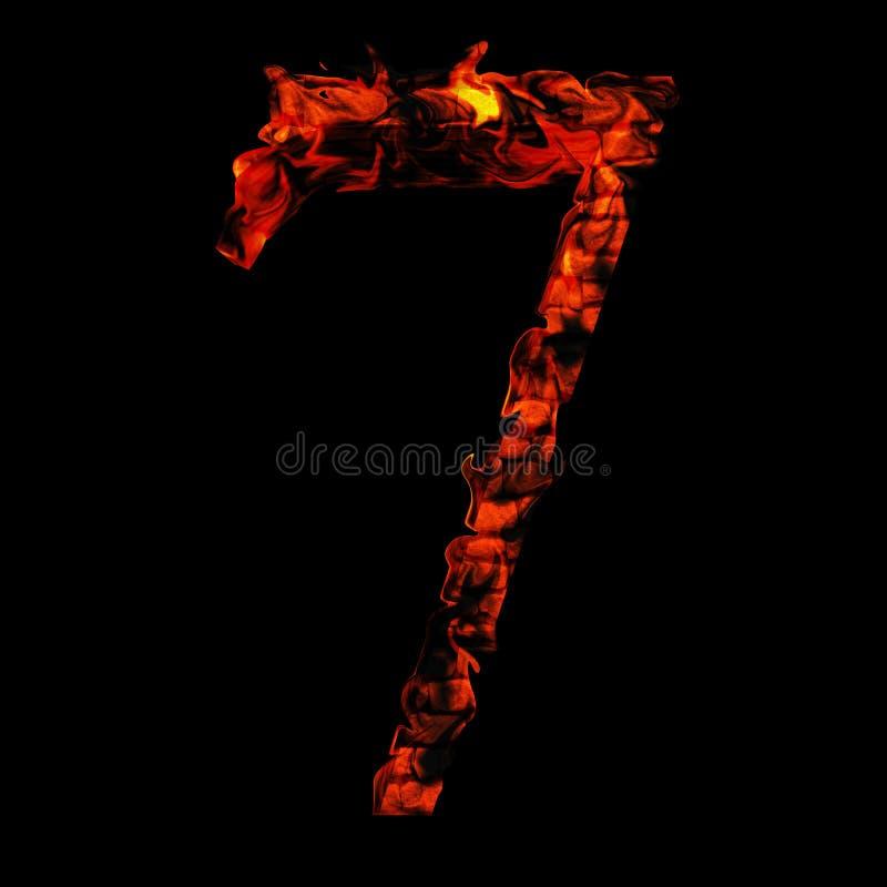 在红色和橙色火焰的炽热灼烧的火字体 皇族释放例证