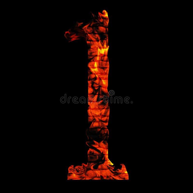 在红色和橙色火焰的炽热灼烧的火字体 向量例证