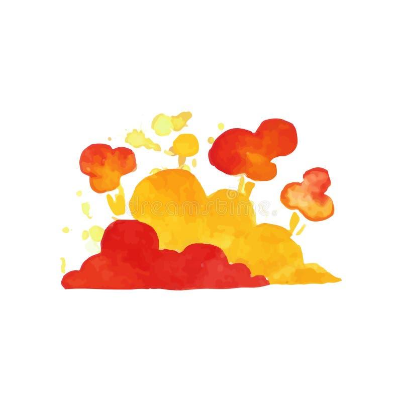 在红色和橙色颜色的明亮的易爆的云彩 五颜六色的水彩样式 儿童手拉的例证 向量 库存例证
