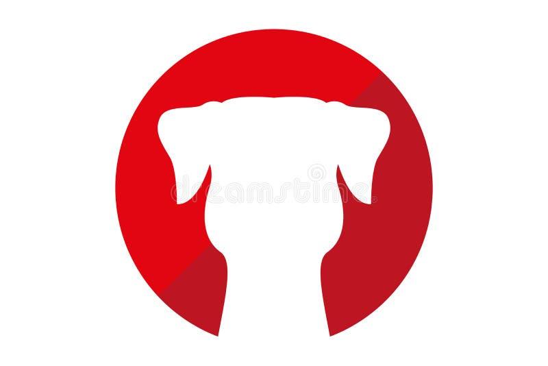 在红色和深红圈子里面的狗剪影 向量例证