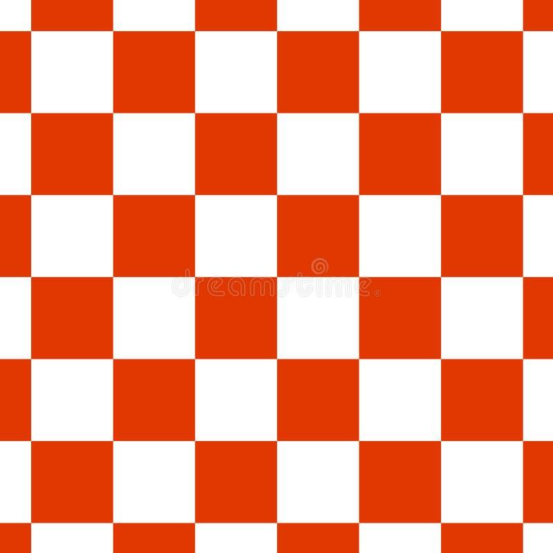 在红色和白色的棋枰或检测板无缝的样式 棋或验查员比赛的方格的委员会 战略比赛 皇族释放例证