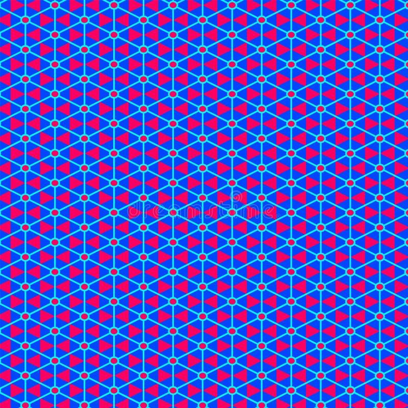 在红色和蓝色的五颜六色的种族东方无缝的样式 库存例证