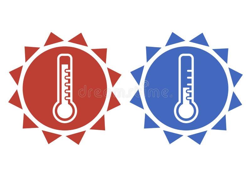 在红色和蓝色的温度计象 热和冷天的温度计 ?? 皇族释放例证