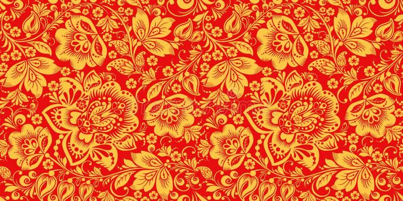 在红色和金子的Hohloma上色无缝的样式 向量例证