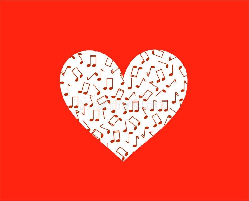 在红色和音符的心脏剪影 皇族释放例证
