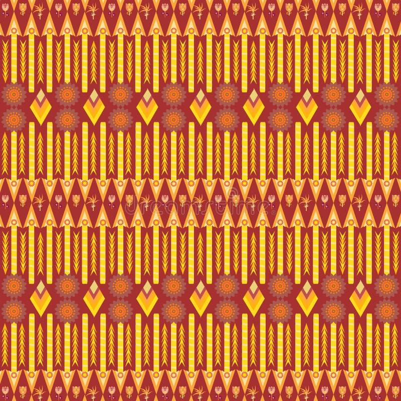 在红色和黄色的部族种族五颜六色的生动的重复的样式 皇族释放例证