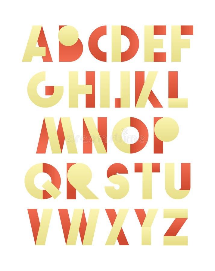 在红色和黄色的减速火箭的字体 米黄字母表 现实信件 皇族释放例证
