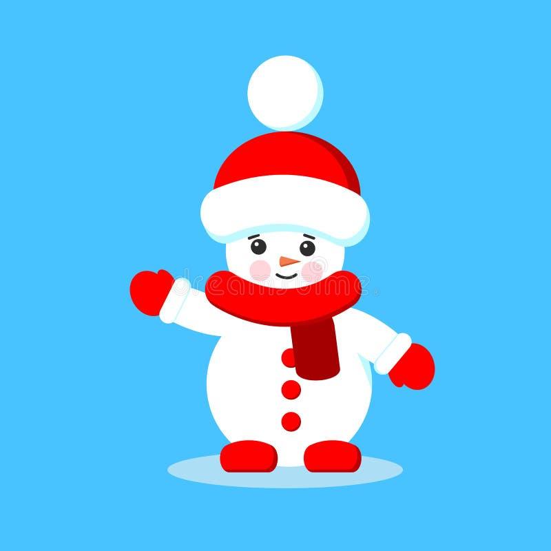在红色围巾、手套和帽子的被隔绝的逗人喜爱的动画片雪人在平的样式 皇族释放例证