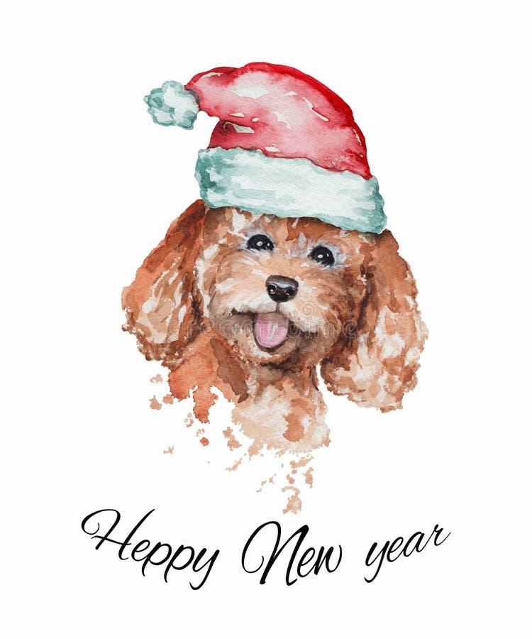 在红色圣诞老人的盖帽的水彩微笑的红头发人狮子狗画象 免版税库存图片