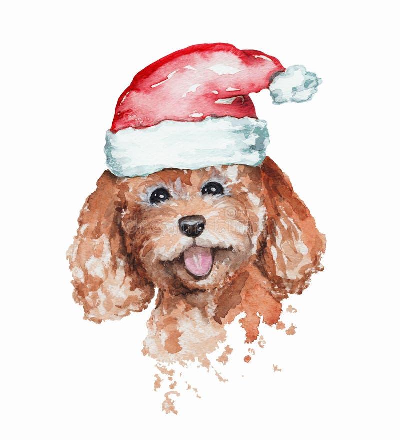 在红色圣诞老人的盖帽的水彩微笑的红头发人狮子狗画象 向量例证