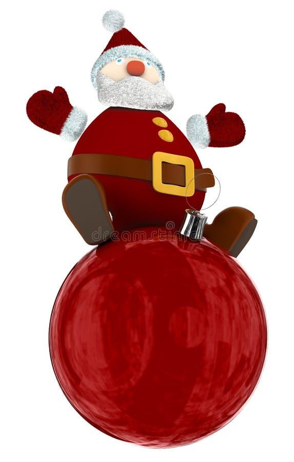 在红色地球顶部的3D圣诞老人 免版税库存图片