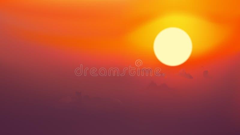 在红色天空的日出与云彩,传染媒介例证 向量例证
