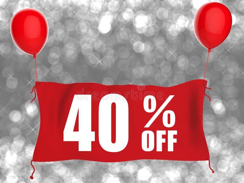 40%在红色布料的横幅 向量例证
