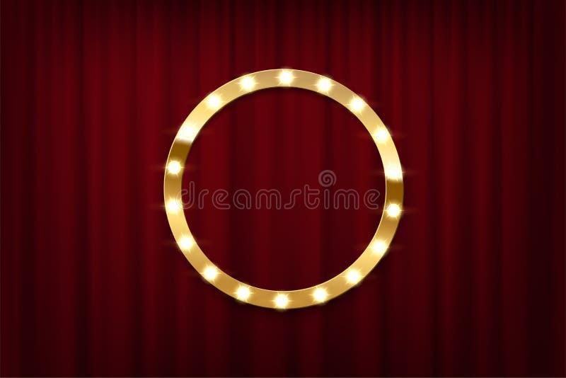 在红色帷幕背景的圆的电灯泡框架 容易的设计编辑要素导航 皇族释放例证