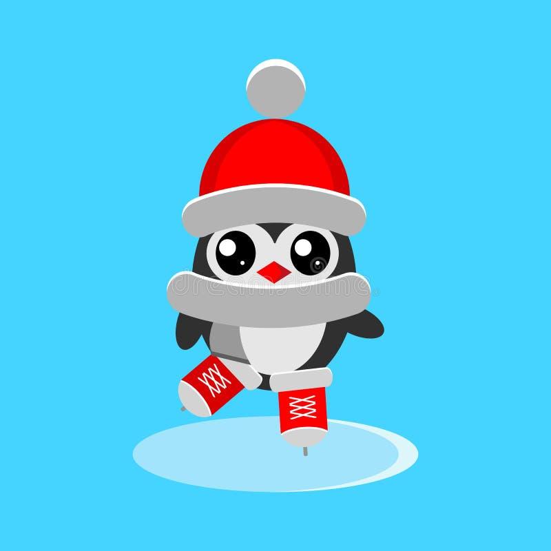 在红色帽子、滑冰在平的样式的溜冰场的围巾和冰鞋的被隔绝的企鹅 库存例证