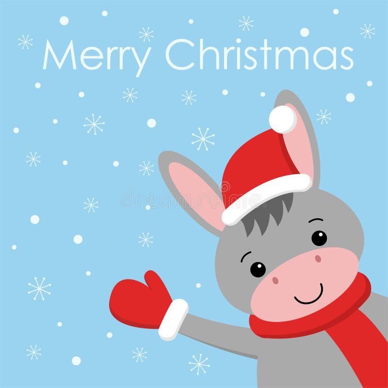 在红色帽子动画片样式的圣诞快乐和新年快乐滑稽的驴 ?? 向量例证