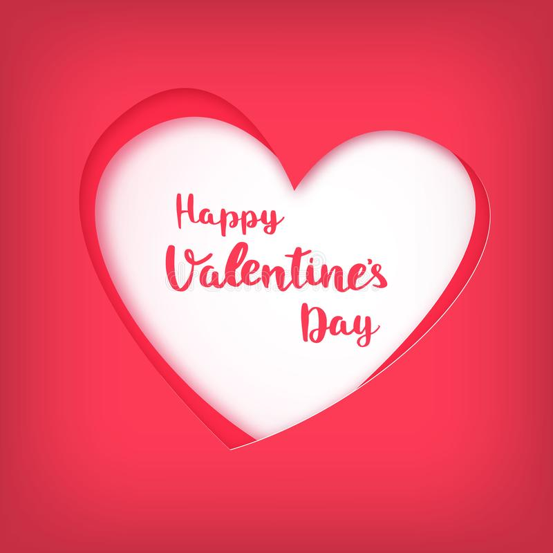 在红色心脏的愉快的情人节在纸艺术样式 向量例证