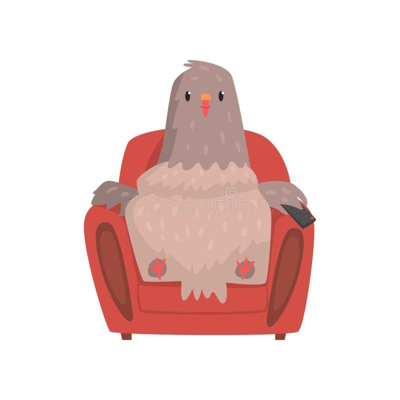 在红色扶手椅子的滑稽的鸽子有遥控的电视的 库存例证