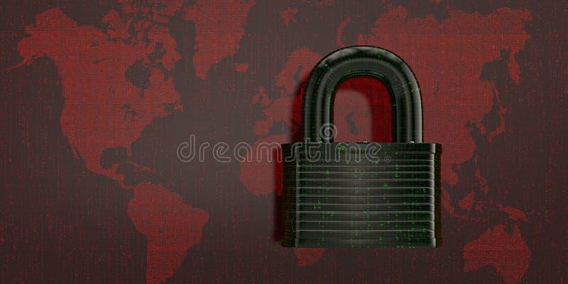 在红色数字式世界地图的数字式锁 3d例证 皇族释放例证