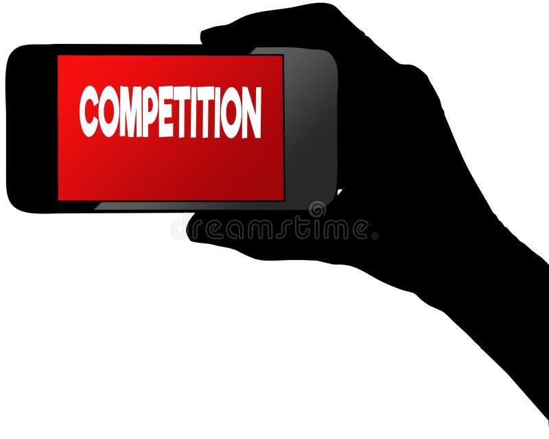 在红色智能手机屏幕上的竞争 图库摄影