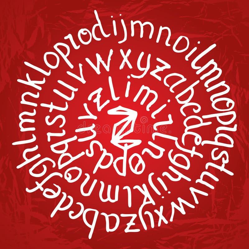 在红色梯度背景的抽象圆的字法与纹理 库存例证