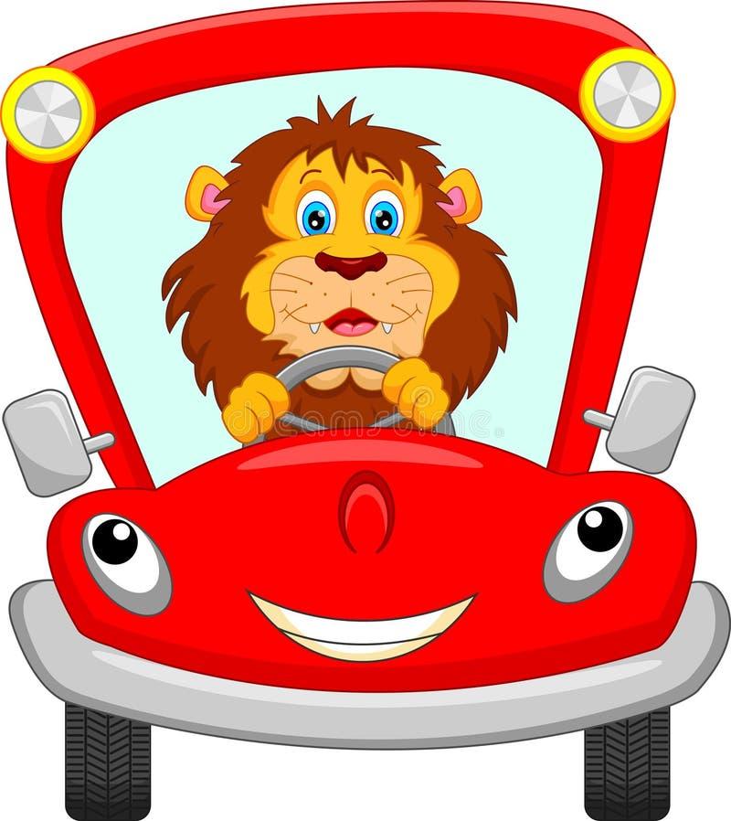 在红色汽车的狮子 库存例证