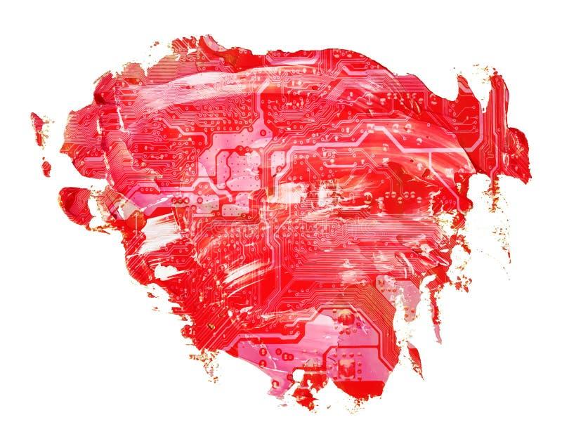 在红色油纹理油漆污点刷子冲程的电路板心脏 向量例证