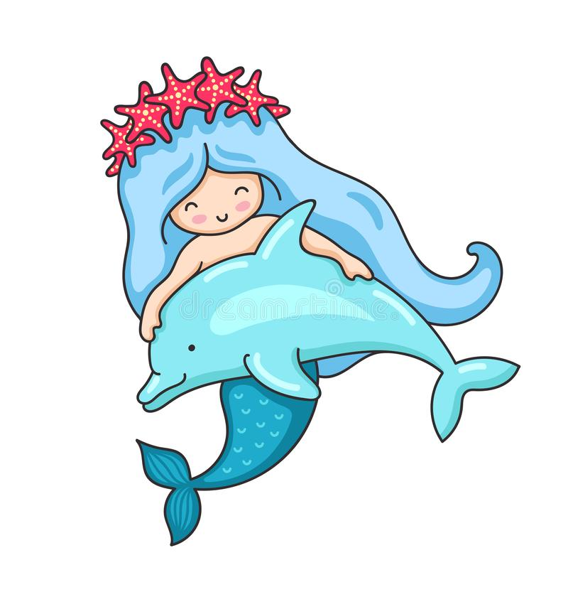 在红色海星花圈的动画片美人鱼,与逗人喜爱的小的海豚 皇族释放例证