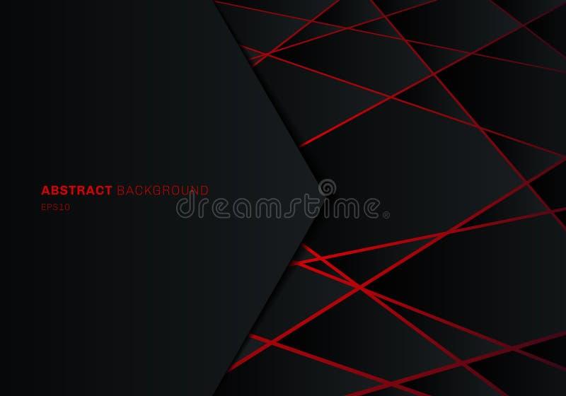 在红色激光霓虹未来派技术设计观念背景的摘要模板黑几何多角形与空间为 库存例证