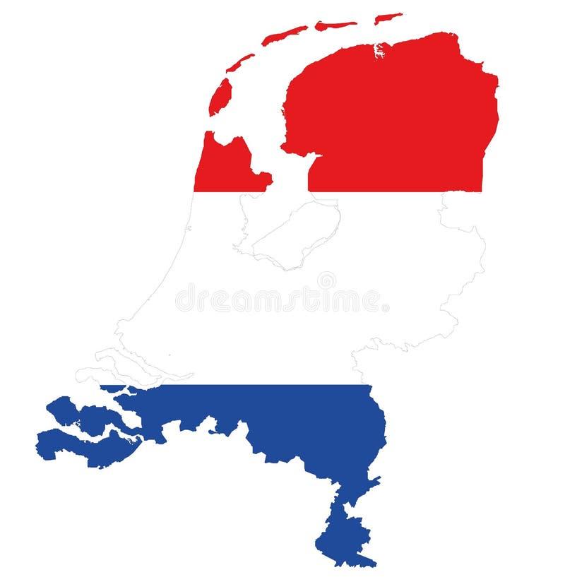 在红色白色蓝色的荷兰地图 图库摄影