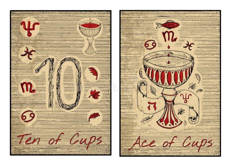 在红色的占卜用的纸牌 杯子十倍和一点  向量例证