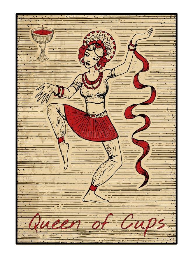 在红色的占卜用的纸牌 杯子的女王/王后 皇族释放例证