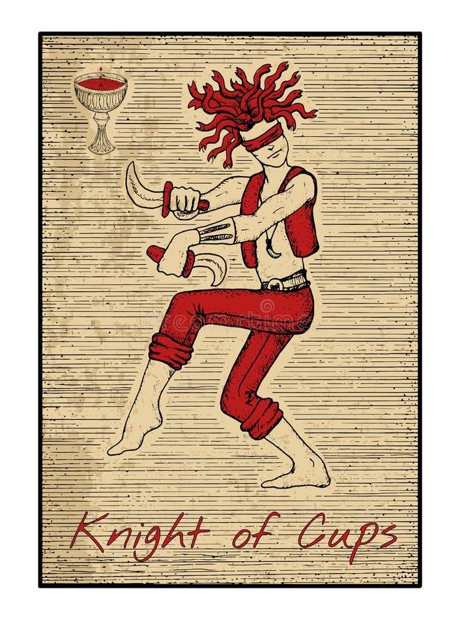 在红色的占卜用的纸牌 杯子的骑士 库存例证