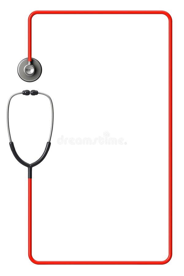 在红色的听诊器作为框架 库存照片